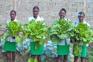 Girls with mustards in Haiti