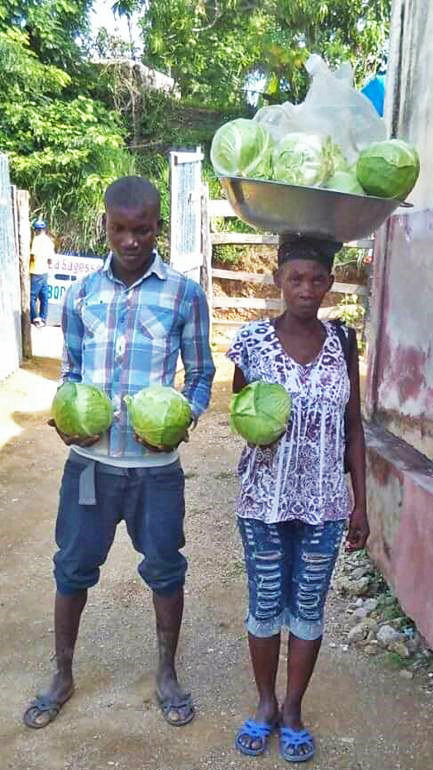 A mother and child selling cabbage (LFBS)