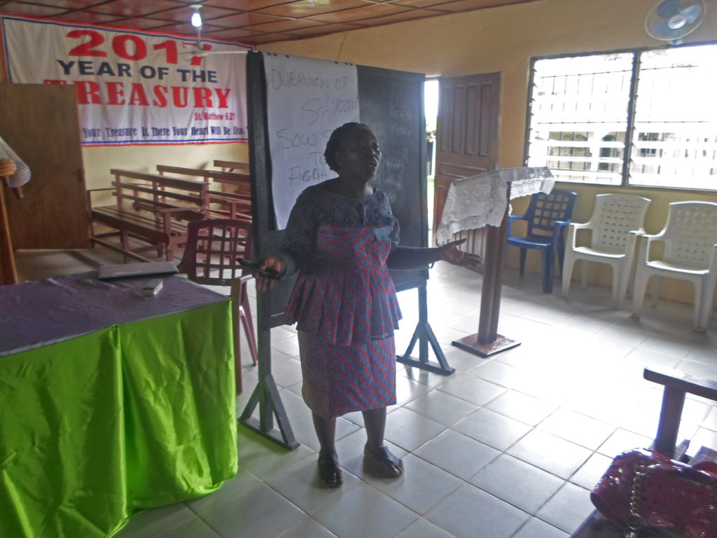 Miatta giving remarks (Church Aid Liberia)