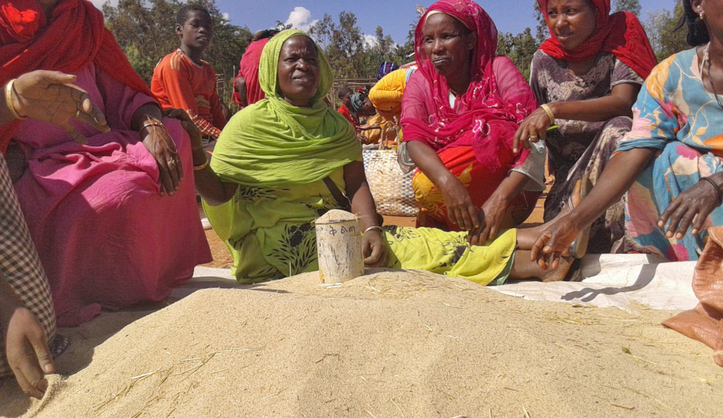 Women with GrowEastAfrica sell teff at market