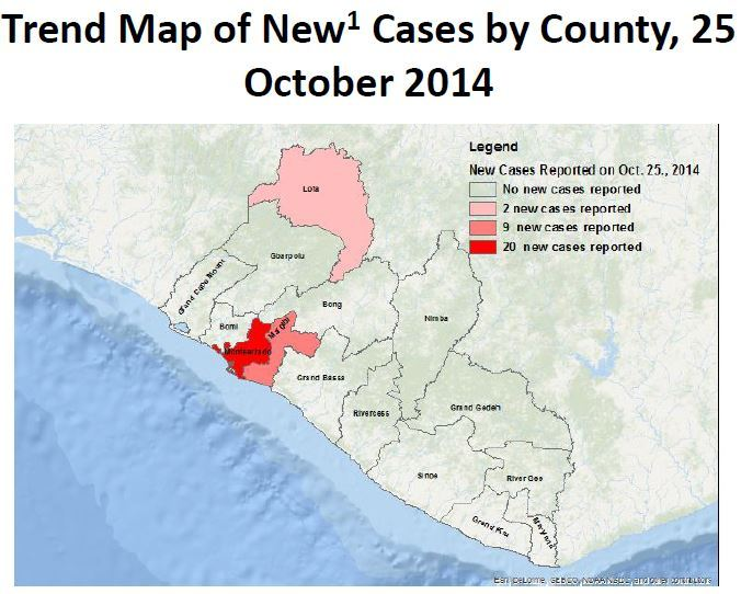 Montserrado (seed destination) is #1 in new cases.